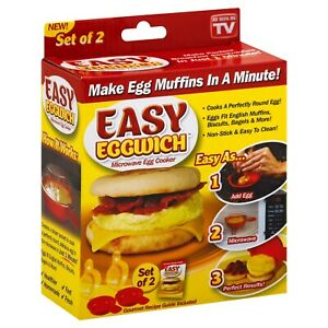 EASY EGGWICH SET OF TWO MICROWAVE EGG MUFFINS COOKER IN A MINUTE NEW BOX