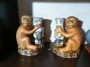 Chinese Antique Pair Monkeys Porcelain $300.00