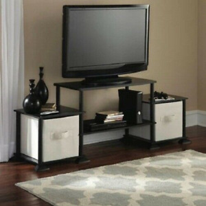 TV Stand Entertainment Center Media Console Furniture Wood Storage Cabinet Black $48.61