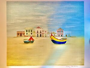 Beach Houses Original Hand Signed Limited Edition Lithograph Faulconer $95.00