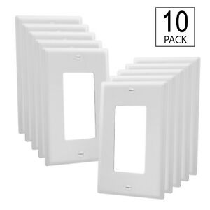 10 Pack - Single-Gang Cover Plate - UL Listed - GFCI Plastic Wall Plate, White