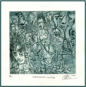 Funny WILD PARTY GUESTS Original ETCHING Signed Limited-Edition Art Print  $24.00