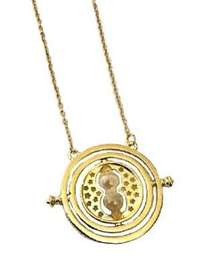Gold Time Turner Hermione Granger Rotating Hourglass Necklace Pendant Gift Chain GBP 5.99