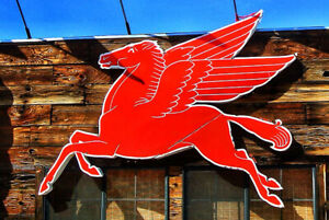 Vintage Metal Sign 12x8 Pegasus Mobil Flying Red Horse Wings Classic Gas Art