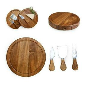 Acacia Brie Stainless Steel Cheese Cutting Board & Tools Set Home Kitchenware