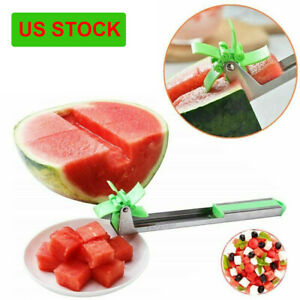 Watermelon Cutter Slicer Knife Tongs Windmill Stainless Steel Fruit Cutting Tool