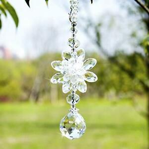 H&D Clear Hanging Crystal Ball Prisms Flower Fengshui Ornament White