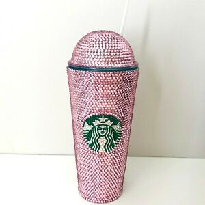 Custom Bling Starbucks Tumbler Venti with Dome Lid Swarovski Pink Crystals