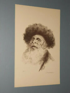 IRVING WEINSTEIN LITHOGRAPH OF AN OLD HASSIDIC RABBI PENCIL S N 130 200 $21.95