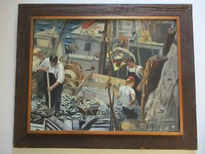 VINTAGE ANTIQUE NAUTICAL PAINTING INDUSTRIAL FISHERMAN FISHING BOAT SHIP SIGNED $1,072.50