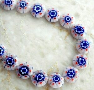 30 Millefiori Glass 12x4mm Puffed Flat Round Coin Red White Blue Strand Beads