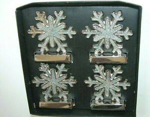 NEW NWT Christmas Ornament Jeweled Snowflake Tabletop Accessories Set 4 Metal
