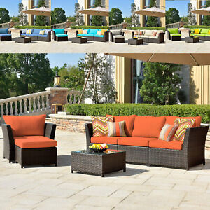 6 pcs Patio Furniture Rattan Wicker Sofa Outdoor Garden Sectional Couch Set