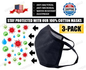 3 Pack - Grey 100% Cotton Three Layer Adult Face Mask - Reusable Washable Unisex