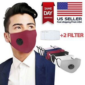 Reusable Washable 5 Layer Cloth Face Mask w Air Port 2 PM2.5 Carbon Filters