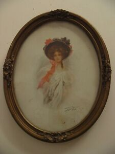 1908 Signed Lovely Lady Oval Lithograph Print Leon M???