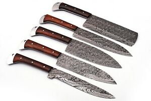 HAND FORGED DAMASCUS STEEL CHEF KNIFE KITCHEN SET WITH Rose Wood HANDLE - Q-1401