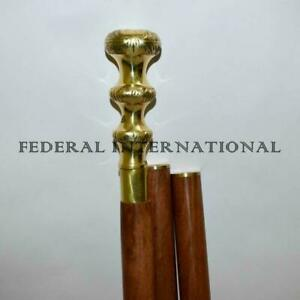 Brown Wooden Walking Cane Brass Knob Head Handle Canes Walking Stick Solid gift $29.00