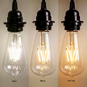 2020 Vintage Retro Edison E27 2-8W Screw LED Filament Light Bulb ST64 Globe Lamp