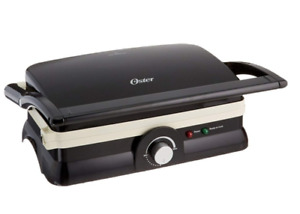 Oster Titanium-Infused DuraCeramic 2-in-1 Panini Maker and Grill, Black