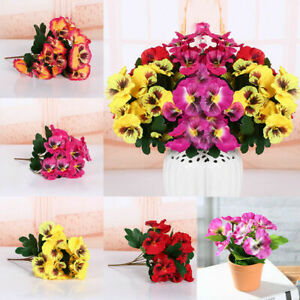 Artificial Flowers Fake Pansy Bunch Home Wedding Party Grave Outdoor Bouquet s