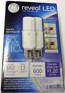 GE 10W Reveal LED Stick Light #1461540. 600 Lumens. 2 Count Box Replaces 60 Watt