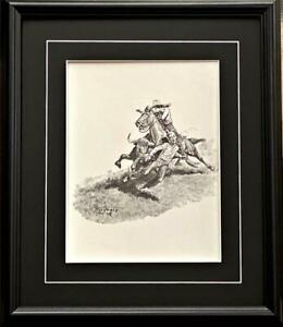 Will James Cowgirl Save the Day Steer Art Print Framed 17 x 20 $49.95