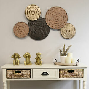 Abstract Country Wall Art Large Metal Plates Circle Above Fireplace Decor Accent $55.51