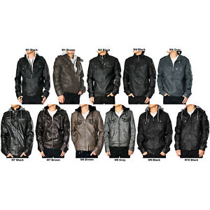 RNZ Premium Designer Men#x27;s Faux Leather Jacket Multiple Styles