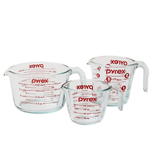 Pyrex Glass Measuring Cup Set 3-Piece, Microwave and Oven Safe