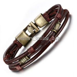 Men Vintage Braided Leather Bracelet Brown Rope Wrist Band Cuff Bangle 8.5quot; Gift