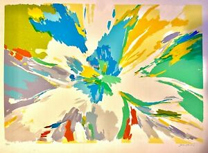 Flower Original Hand Signed Limited Edition Lithograph Joan Paley Abstract Art $95.00