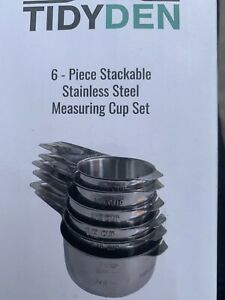 TidyDen: 6pc Stackable Stainless Steel Measuring Cup Set