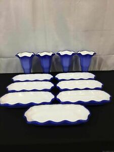 Beautiful Blue 4 Cups and 7 Serving Bowl