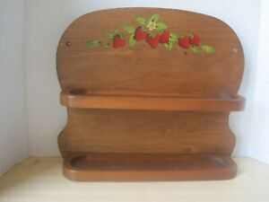 Vintage Wood Country Wall Shelf with Cutout amp; Tole Painted Strawberries $18.00