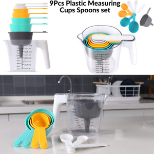 9Pcs Plastic Measuring Cups Spoons set Collapsible Kitchen Cooking