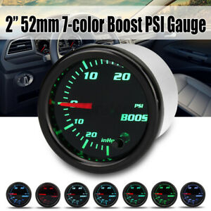 2'' 52mm 7 Color LED Car Turbo Boost 30PSI Pressure Vacuum Gauge Meter 12V #