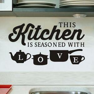 Kitchen Love Black Quotes Vinyl Art Wall Sticker Decal Mural Home Decor SJ