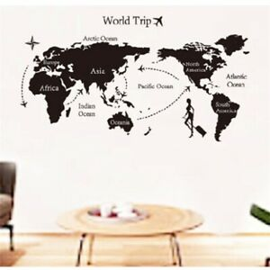DIY Travel the World Map Removable Waterproof Vinyl Wall Stickers Room Art Decor $11.18