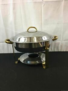 Silver And Gold Food Warmer Serving Piece