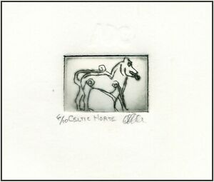 Celtic HORSE Original ETCHING Limited-Edition Signed Miniature Art Print $15.00