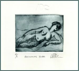 Female Nude Reclining Original ETCHING Signed Numbered MIniature Art Print  $24.00