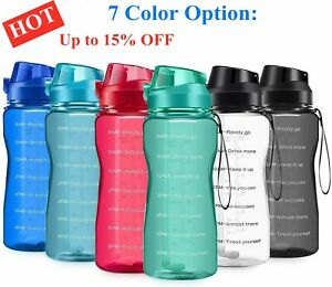 New Motivational Water Bottle 2.2L/64oz Half Gallon Jug with Straw