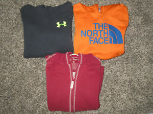 LOT OF 3 YOUTH SMALL S SIZE 7 8 HOODIES THE NORTH FACE, UNDER ARMOUR, LL BEAN $39.95