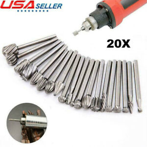 Drill Bits Tool For Dremel Set 20 pcs Steel Rotary Burrs High Speed Wood Carving