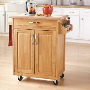 Kitchen Island Cart with Drawer and Storage Shelves, Natural Wood Portable,