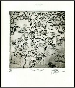 Polite EWE SHEEP Original ETCHING Signed Numbered Limited Edition Art Print $125.00