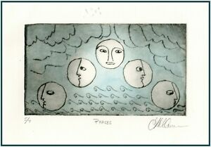 MOON PHASES LUNAR FACES Original ETCHING Signed Limited Edition Art Print $34.00