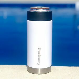 Slim Can Insulated Koozie | White/Stainless | 12oz Slim Cans