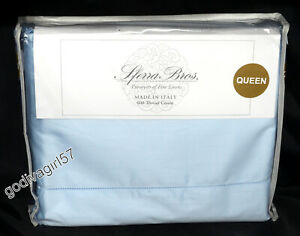 Sferra Allegro QUEEN SHEET SET 600 Thread Count Sateen, Blue, Long Staple Cotton